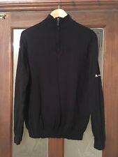 Mens Aquascutum 1/4 Zip Sweater Jumper Black Small