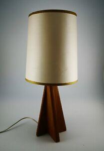 Vintage MCM Wooden Teak Danish Style Lamp Base Original Shade