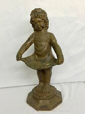 """Huge Antique Bronze Fountain Statue of Girl Catching Water In Dress 22"""" 25 Pound"""