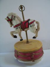 "Rare Vintage Taiwan Wind Up Carousel Music Box Horse 8"" Tall"