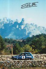 Jean Ragnotti foto firmada de mano 12x8 Renault Rally 2.