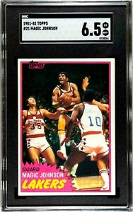 Magic Johnson 1981-82 Topps #21 LA Lakers Basketball Card  SGC 6.5