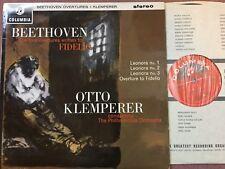 SAX 2542 Beethoven Fidelio Overtures Philharmonia Orchestra Otto Klemperer  NM