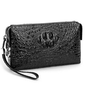 Men Crocodile Pattern Clutch Bag Coded Lock Cell Phone Cash Handbag Long Wallet