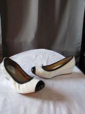 chaussures compensées bloch cuir vernis blanc/noir 37