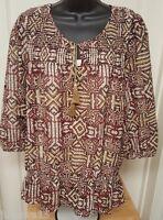 Gloria Vanderbilt NWOT Womens Multi Color Design Cami Shirt Top Blouse Size XL