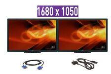 """Cheap 2 x 22"""" INCH Dual Fujitsu Widescreen LED LCD Monitor 1680 x 1050 No Stand"""