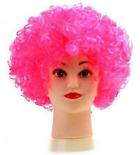 PINK 80s CURLY AFRO WIG PARTY CLOWN FUNKY DISCO ADULTS KIDS HAIR FUZZ HEAD