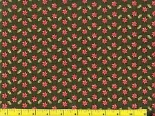 Peppermint Candy & Holly Leaves on Green Christmas Quilting Fabric by Yard #3080