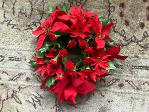 Small  Vintage Christmas or Winter Holiday Plastic Wreath - Faux Poinsettia
