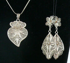 925 SILVER NECKLACE WITH FILIGREE  PENDANT AND EARRINGS SET