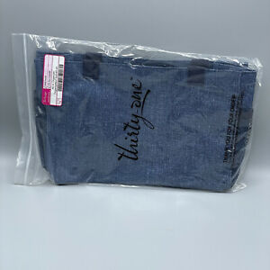 Thirty One All In Organizer Blue Crosshatch Tote Bag