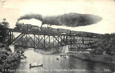 S.P. Flyer Train Soquel River CAPITOLA, CA Railroad Bridge 1945 Vintage Postcard