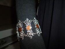 Orientalische Vintage Armkette-Armband mit Münz Verzierung in Silber-Braun Stein