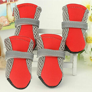 Pet Dog Boots Waterproof Anti-Slip Paw Protector Dog Shoes Adjustable Strap Sole