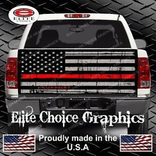 Firefighter Red Line Flag Truck Tailgate Wrap Vinyl Graphic Decal Sticker Wrap