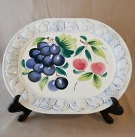Vintage Fruit Embossed Ceramic Oval Serving Platter, Made In Italy, 16.5""