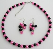 Hot Pink Black Pearl Jewelry Set Wedding Color Necklace Earrings