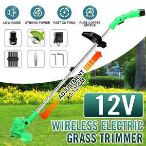 Cordless Strimmer Electric Grass Trimmer Garden Edger Battery Blades Adjustable