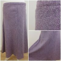 M&S Marks and Spencer Classic Thick Knit Purple Liliac Long Skirt with Wool 14
