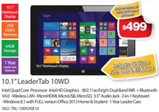 "Leader Win 10/8 Tablet Intel Quad Core 1.8Ghz+Pen+Keyboard 10.1"" IPS 10h battery"