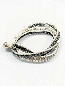 White Leather Black Gray Glass Bead Wrap Bracelet 22 Inches