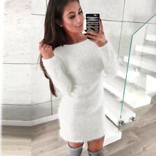 Women Lady Winter Long Sleeve Knitted Sweater Fleece Warm Basic Short Mini Dress
