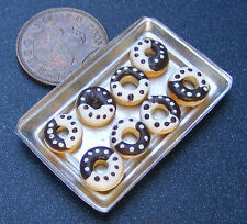 1:12 Scale 8 Loose W & D Chocolate Doughnuts On A Metal Tray Dolls House PL133