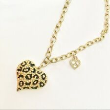 Guess Heart Necklace Pendant Chain Rhinestones Black enamel