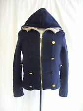 Ladies Cardigan - River Island, size 6, navy, wool mix, hooded, bobbly - 8062