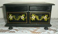 Vintage Wooden Japanese Jewelry Box Black with Gold &Green Floral Motif Pretty