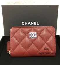 94ff8b6333fe CHANEL Iridescent Burgundy Caviar Zippy Coin Purse Card Case NEW Authentic