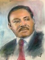 ORIGINAL Dr. Martin Luther King Jr Watercolor Portrait Painting Wall Art 11x15""