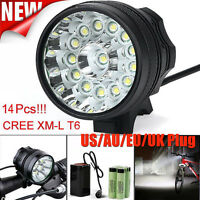 34000LM 14x CREE XM-L T6 LED Bicycle Cycling Light Waterproof Lamp+Battery Set