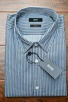 Hugo Boss Men's Ronny Slim Fit Blue/Yellow Striped Cotton Casual Shirt L