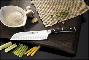 Wusthof Ikon Blackwood 7 Inch Santoku Knife With Hollow Edge - Brand New
