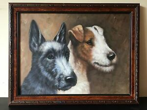 Antique Style Wire Haired Fox Terrier Dog And Jack Russell Oil Painting On Board