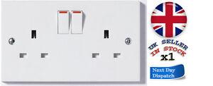 Double Socket or 2Gang or 13amp Twin Socket White Socket 13amp
