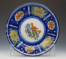 ANTIQUE SPANISH FAIENCE PAINTED TIN GLAZED DISH 19TH C.