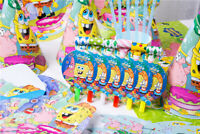Sponge Bob Square pants Birthday Party Supplies Bag Tableware Plates Cups Decor