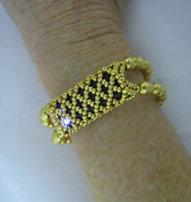 """Gold Beaded Stretch Bracelet to Hold Fitbit Flex 5 1/2"""" Wrist Barely Used"""