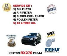 FOR SSANGYONG REXTON RX270 2004-> OIL AIR FUEL POLLEN FILTER KIT + 10LT OIL