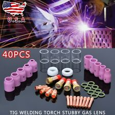 40pcs TIG Welding Torch Stubby Saver Gas Lens Pyrex Cup Kit For WP-17/18/26
