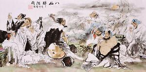 100% HANDPAINTED ORIGINAL ASIAN ART CHINESE WATERCOLOR PAINTING-Eight Immortals