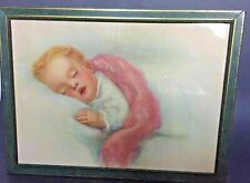 "Sweet! Vintage Metal Framed ""Sleeping Baby� Print 12 X 9� Beautiful"