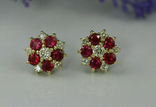 2.00Ct Round Ruby Diamond Cluster Flower Stud Earrings 14k Yellow Gold Finish