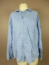 Banana Republic Size M Men's Blue 100%Linen Button Down Button Cuff Shirt 202