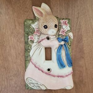 Takahashi Girl Bunny Rabbit Ceramic Light Switch Plate Cover Child's Baby Room