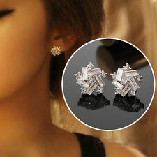 Women Elegant 925 Sterling Silver Plated Rhinestone Crystal Ear Stud Earrings