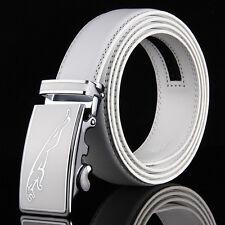 Fashion Mens White Leather Belt Strap Jaguar Automatic Buckle For Wedding Golf